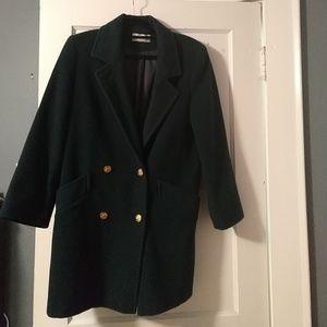 Dark green wool coat, size 6
